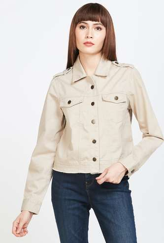 FAME FOREVER Solid Zip-Front Jacket with Flap Pockets