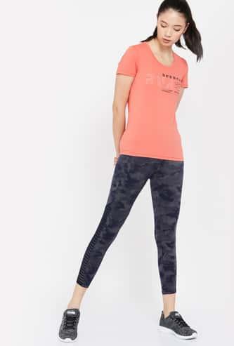 REEBOK Typographic Print Regular Fit Cap Sleeves T-shirt