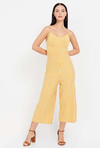 GINGER Striped Sleeveless Jumpsuit