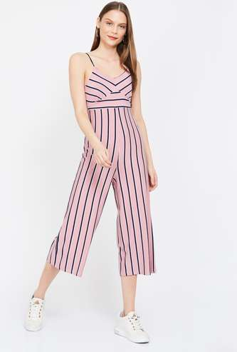 GINGER Striped Sleeveless Cropped Jumpsuit