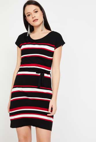BOSSINI Striped Cap Sleeves Dress