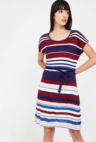 BOSSINI Striped Cap Sleeves A-line Dress