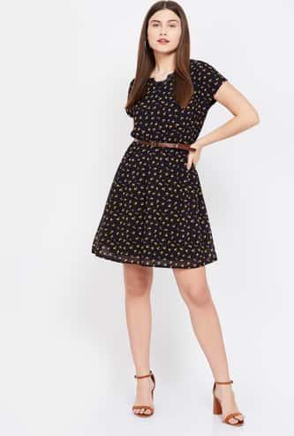 BOSSINI Floral Print Short Sleeves A-line Dress