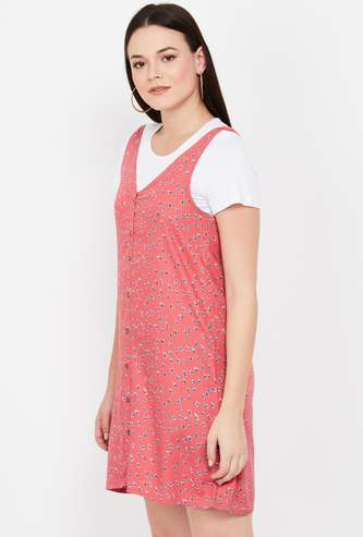 BOSSINI Floral Print V-neck Pinafore Dress with T-shirt