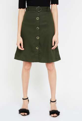 BOSSINI Solid A-line Skirt with Button Placket