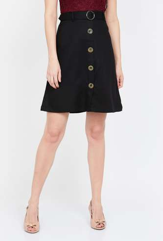 BOSSINI Solid A-line Mini Skirt