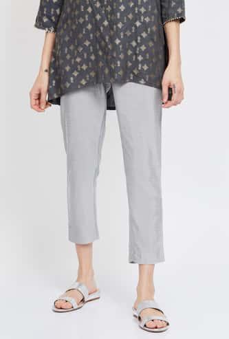 MELANGE Solid Elasticated Cropped Pants