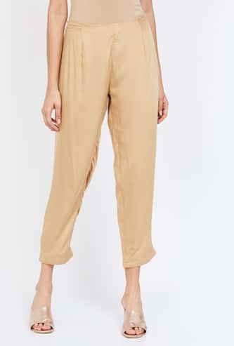 MELANGE Solid Crop Length Straight Pants