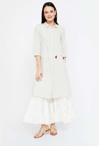 MELANGE Striped Collared A-line Kurta