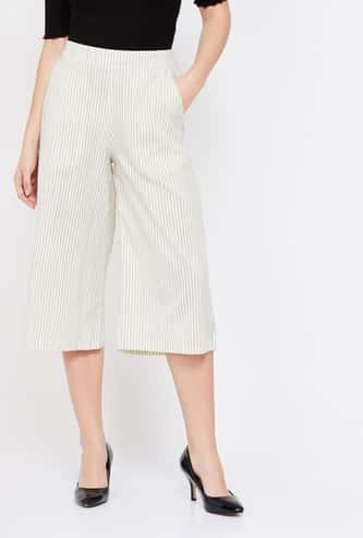 MELANGE Striped Elasticated Waist Culottes