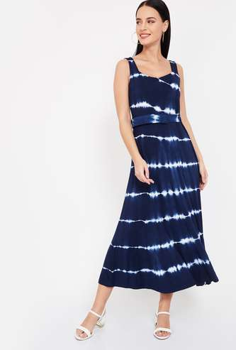 CODE Tie-Dye Sleeveless Midi Dress with Detachable Belt