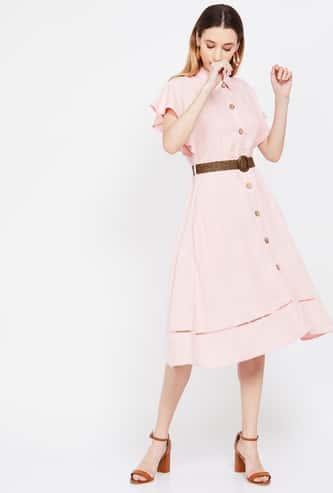 CODE Solid Flutter Sleeves A-line Dress