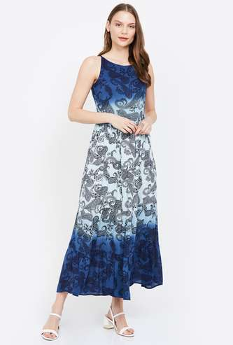 CODE Dual-Shade Printed Dress