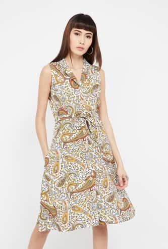 CODE Paisley Print Sleeveless A-line Dress