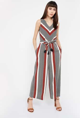 CODE Striped V-neck Jumpsuit