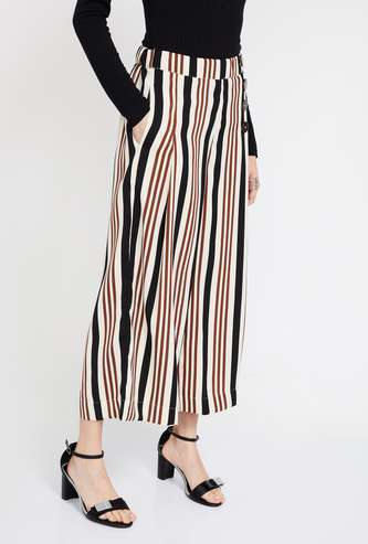 CODE Striped Cropped Palazzos