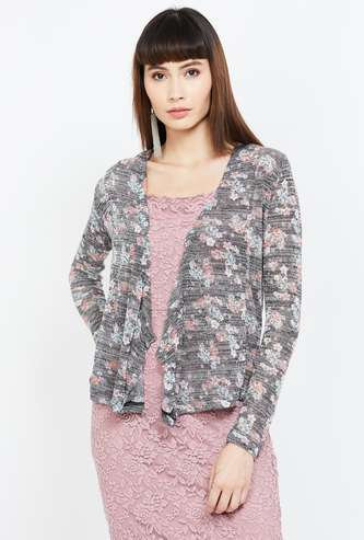 CODE Floral Print Long Sleeves Shrug