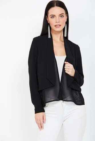 CODE Solid Full Sleeves Shrug