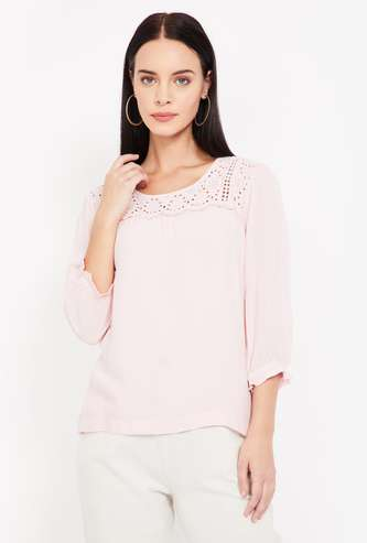 CODE Schiffli Detail Three-quarter Sleeves Top