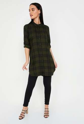 FAME FOREVER Roll-Up Sleeves Checked Shirt Tunic