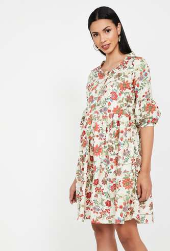COLOUR ME Floral Print Three-Quarter Sleeves Shift Dress