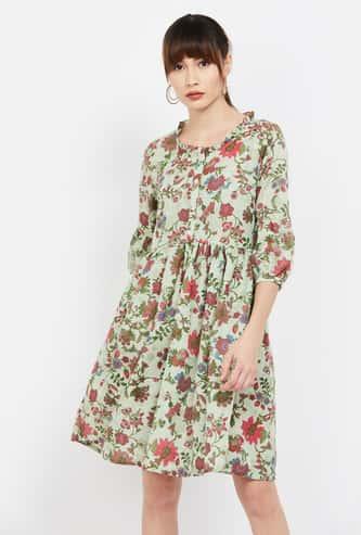 COLOUR ME Floral Print A-line Dress