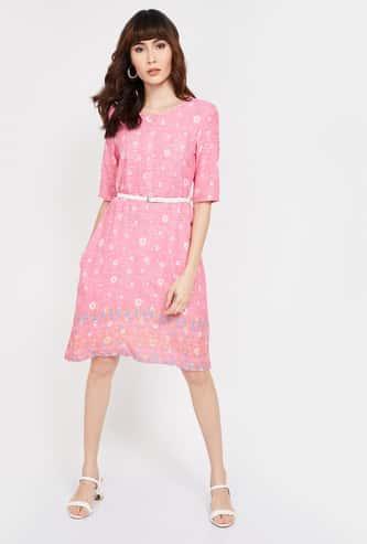 COLOUR ME Printed A-line Dress with Detachable Belt