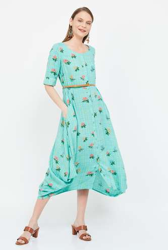 COLOUR ME Floral Print Midi Dress with Dipped Hems