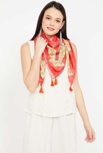 COLOUR ME Printed Tassel Trimmed Stole