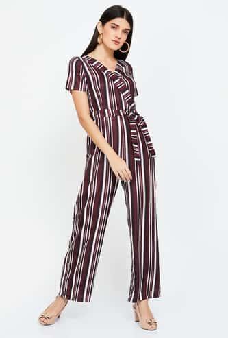 FABALLEY Striped V-neck Jumpsuit