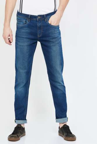 BOSSINI Dark Washed Slim Straight Jeans
