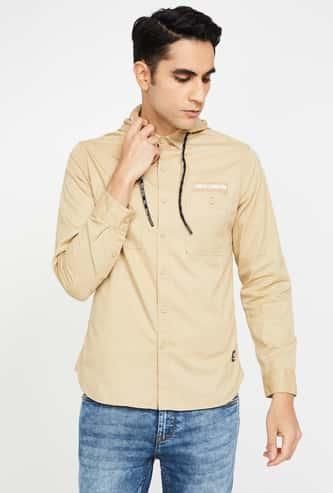 BOSSINI Typographic Print Regular Fit Hooded Casual Shirt