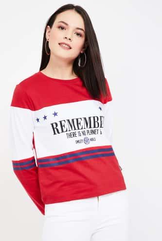 SMILEY Typographic Print Colourblock Sweatshirt