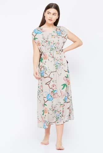 GINGER Floral Print V-neck Night Dress