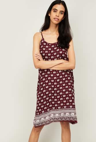 GINGER Women Printed Sleeveless Night Dress