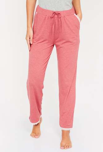GINGER Heathered Pyjama Pants with Lace Trim