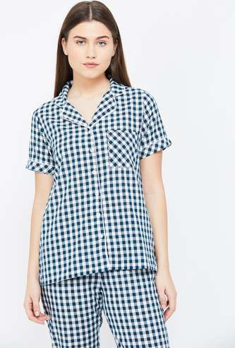 GINGER Gingham Check Lounge Shirt