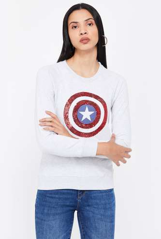 FREE AUTHORITY Embellished Full Sleeves Sweatshirt