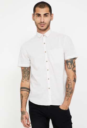 CODE Striped Short Sleeves Slim Fit Shirt