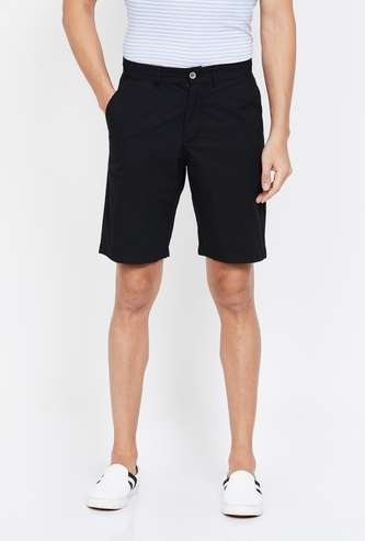 CODE Solid Regular Fit Shorts