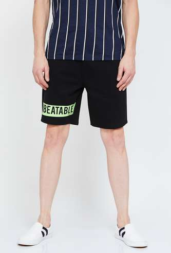 SMILEY Typographic Print Elasticated Shorts