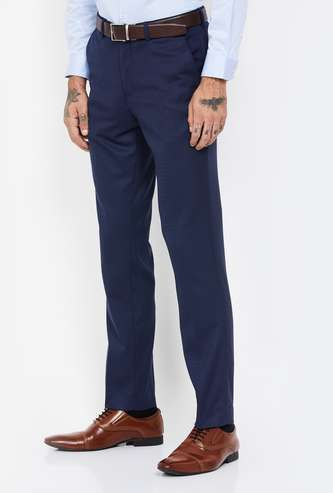 CODE Solid Slim Tapered Formal Trousers