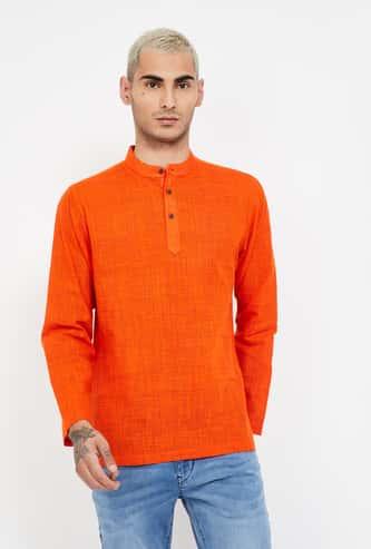 MELANGE Textured Band Collar Shirt Kurta