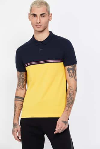 FAME FOREVER Colourblocked Regular Fit Polo T-shirt