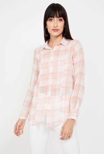 GINGER Checked Full Sleeves Casual Shirt