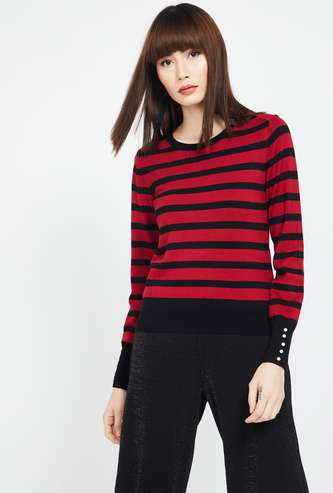 MADAME Striped Regular Fit Full Sleeves Sweater