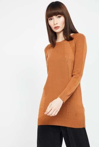 MADAME Textured Regular Fit Round Neck Sweater