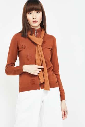 MADAME Patterned Knit Regular Fit Zip-Front Cardigan