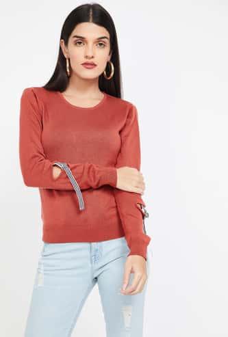 MADAME Solid Regular Fit Round Neck Sweater