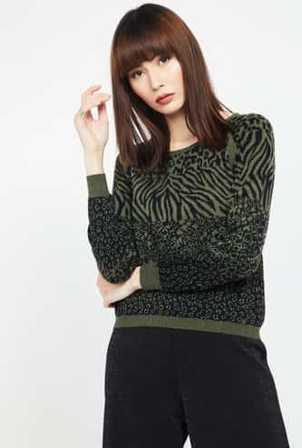 MADAME Animal Jacquard Regular Fit Full Sleeves Sweater